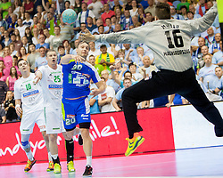 Luka Zvizej #20 of Slovenia and Roland Mikler #16 of Hungary during handball match between National teams of Slovenia and Hungary in play off of 2015 Men's World Championship Qualifications on June 15, 2014 in Rdeca dvorana, Velenje, Slovenia. Photo by Urban Urbanc / Sportida