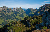 Looking south down into a valley from the Niederhorn in the Swiss Alps, Berner Oberland, Switzerland.
