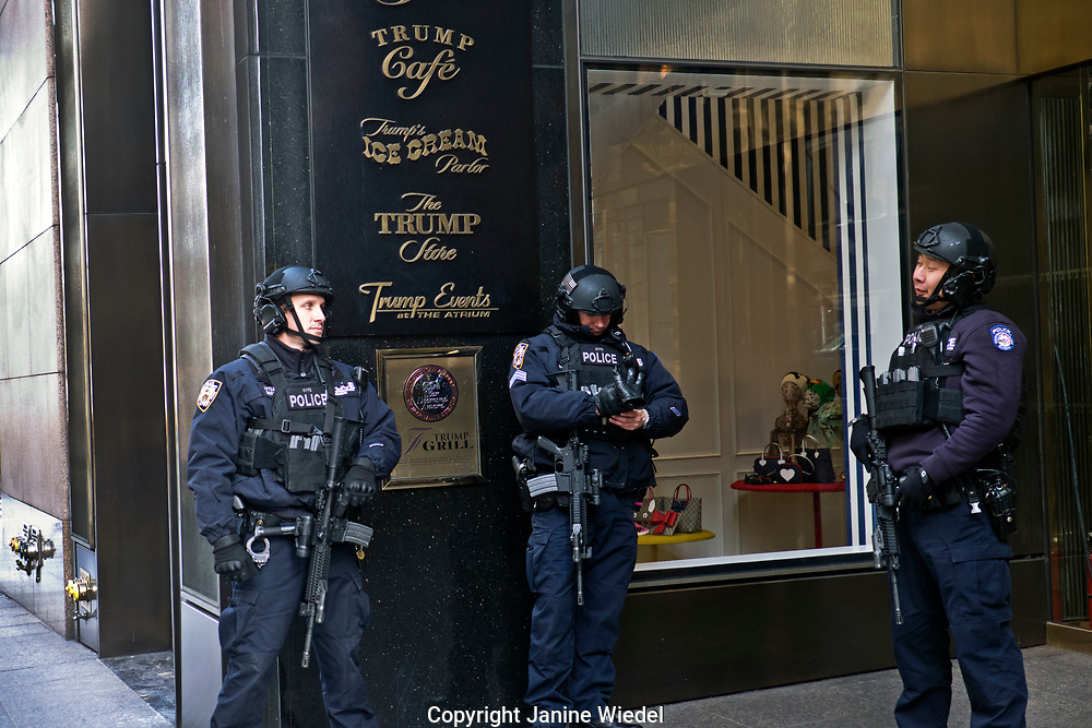 Exterior of Trump Tower in Manhattan New York City  with armed police