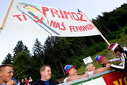 Primoz Peterka with his fans after Ski Jumping Summer Continental Cup in Kranj and last jump of Primoz Peterka's career, one of the best ski jumpers in history, on July 2, 2011, in Kranj, Slovenia. (Photo by Vid Ponikvar / Sportida)