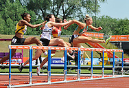 Picture by Alan Stanford/Focus Images Ltd +44 7915 056117<br /> 12/07/2013<br /> Winner Louise Wood (GBR) 100m Hurdles heat pictured during day two of Sainsbury's British Championship at Alexander Stadium, Birmingham.