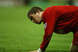 WOLVERHAMPTON, ENGLAND - Wednesday, January 21st, 2004: Liverpool's Harry Kewell spits during the Premiership match against Wolverhampton Wanderers at Molineux. (Pic by David Rawcliffe/Propaganda)