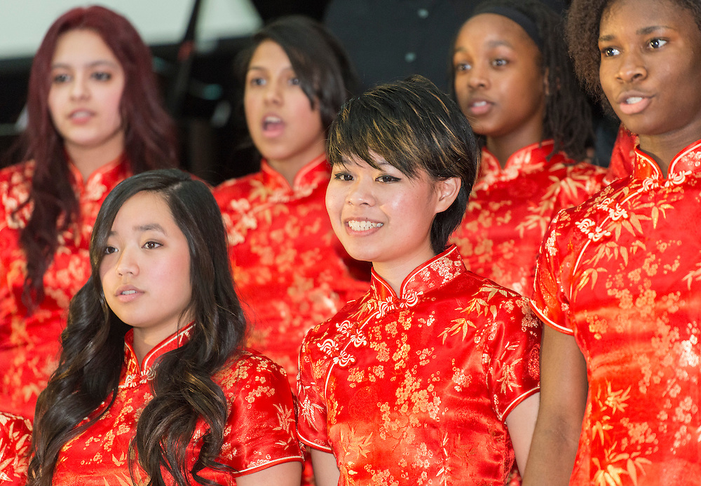 Members of the Sharpstown International School Choir perform during a district wide celebration of the Chinese New Year at Sharpstown International, February 22, 2014.