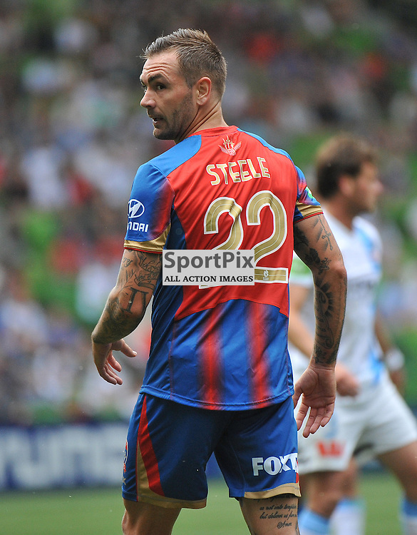 Jonathan Steele (Newcastle Jets) during the Hyundai A- League, round 2 match, between Melbourne City &amp; the Newcastle Jets held at Aami Park Stadium, Melbourne, Victoria on the 19th October 2014.<br /> WAYNE NEAL | SportPix.org.uk