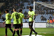 Peterborough United forward Ivan Toney (17)celebrates his goal with team mates during the EFL Sky Bet League 1 match between Coventry City and Peterborough United at the Ricoh Arena, Coventry, England on 23 November 2018.