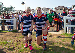 Amber Reed of Bristol Ladies poses with a mascot - Mandatory by-line: Paul Knight/JMP - 09/04/2017 - RUGBY - Cleve RFC - Bristol, England - Bristol Ladies v Saracens Women - RFU Women's Premiership Play-off Semi-Final