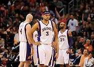 Jan. 28, 2011; Phoenix, AZ, USA; Phoenix Suns forward Jared Dudley (3) reacts on the court against the Boston Celtics at the US Airways Center.  The Suns defeated the Celtics 88-71. Mandatory Credit: Jennifer Stewart-US PRESSWIRE.