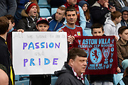 Villa fans demanding passion and pride from their players during the Barclays Premier League match between Aston Villa and Bournemouth at Villa Park, Birmingham, England on 9 April 2016. Photo by Jon Hobley.
