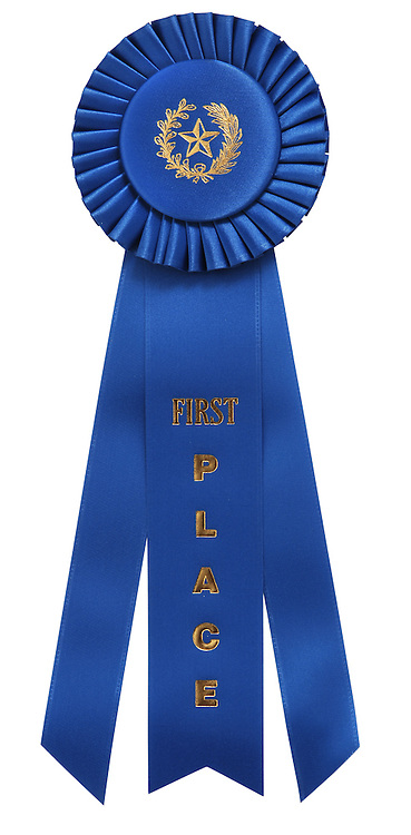 "classic blue ribbon with ""First Place"" embossed on center ribbon. Isolated on white with clipping path"