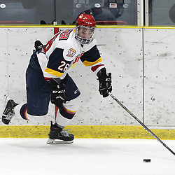 WELLINGTON, ON - FEBRUARY 9: Ben Woodhouse #26 of the Wellington Dukes skates with the puck during the first period on February 9, 2019 at Wellington and District Community Centre in Wellington, Ontario, Canada.<br /> (Photo by Tim Bates / OJHL Images)