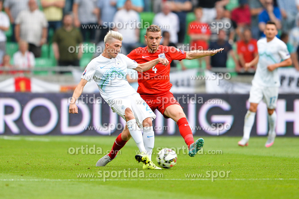 Kevin Kampl of Slovenia and Jordan Henderson of England during the EURO 2016 Qualifier Group E match between Slovenia and England at SRC Stozice on June 14, 2015 in Ljubljana, Slovenia. Photo by Mario Horvat / Sportida