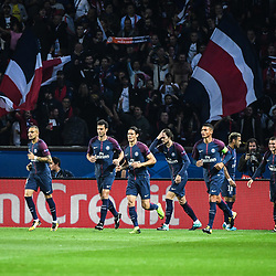 Team of PSG celebrates a goal during the Uefa Champions League match between Paris Saint Germain and Fc Bayern Muenchen on September 27, 2017 in Paris, France. (Photo by Anthony Dibon/Icon Sport)