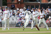 Shivnarine Chanderpaul for Lancs just makes the run during the Specsavers County Champ Div 1 match between Lancashire County Cricket Club and Essex County Cricket Club at the Emirates, Old Trafford, Manchester, United Kingdom on 9 June 2018. Picture by George Franks.