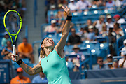 Svetlana Kuznetsova (RUS) serves to Ashleigh Barty (AUS) during the Western and Southern Open tennis tournament at Lindner Family Tennis Center, Saturday, Aug 17, 2019, in Mason, OH. (Jason Whitman/Image of Sport)