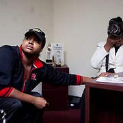 NEW YORK, NY - NOVEMBER 24, 2014:  Erica Garner, one of the daughters of Eric Garner, and his mother Gwen Carr, react to the results of a grand jury decision in Ferguson, Missouri, about the fatal shooting of Michael Brown, an unarmed black teenager, by Ferguson police officer Darren Wilson, at the headquarters of the National Action Network, in Harlem. CREDIT: Sam Hodgson for The New York Times