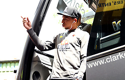 Watford's Jose Holebas reacts to a fans sign as he departs the team bus ahead of the Premier League match at Vicarage Road, Watford.