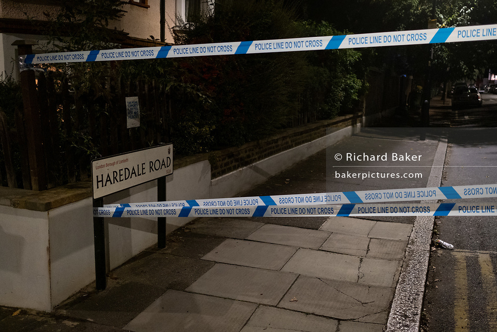 Closed-off roads surrounding Herne Hill and Carnegie Library in Lambeth, after two people were reported shot in this residential south London area, on 10th September 2020, in London, England. The two victims were taken to hospital with non-life threatening injuries.
