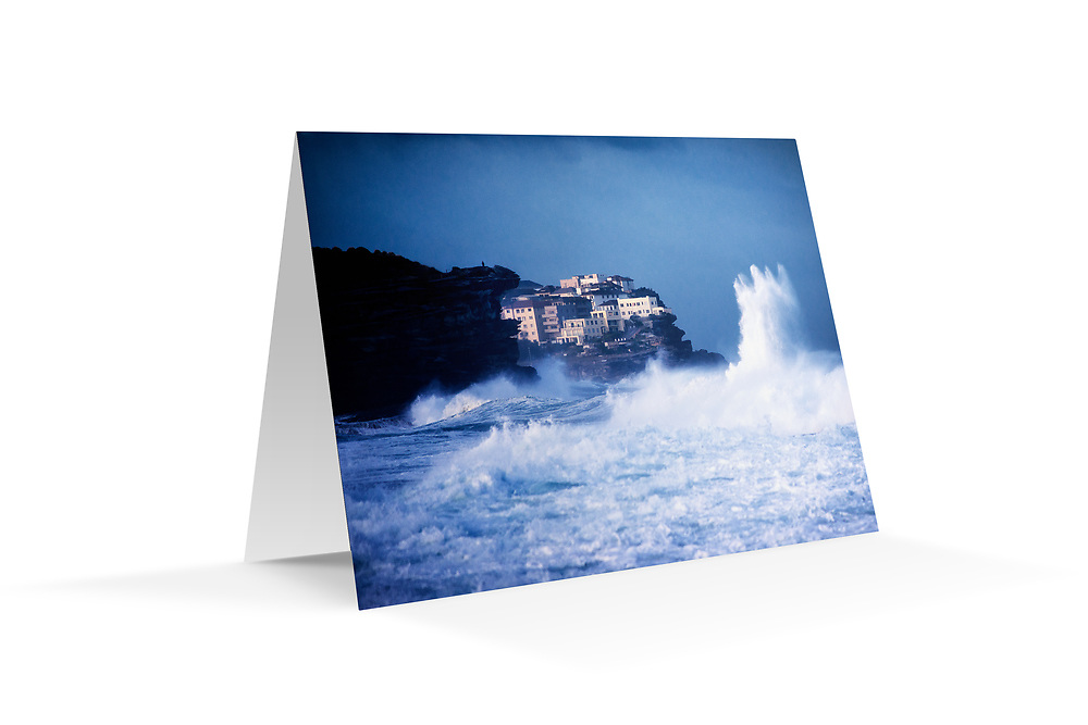"Photo Art Greeting Card - Sydney Coastal Collection (Ben Buckler Point from Bronte). Printed on 350gsm matte card, 174 x 123mm, blank inside, envelope included, packaged in sealed poly bag. Click ""Add to Cart"" to choose your own mix of 5, 10, or 20 cards from this collection."