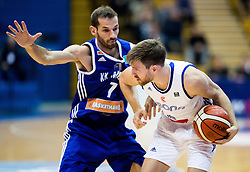 Balsa Radunovic of KK Mornar vs Petar Maric of Cibona during basketball match between KK Cibona Zagreb (CRO) and KK Mornar (MNE) in Round #4 of FIBA Champions League 2016/17, on November 9, 2016 in Drazen Petrovic Basketball center, Zagreb, Croatia. Photo by Vid Ponikvar / Sportida