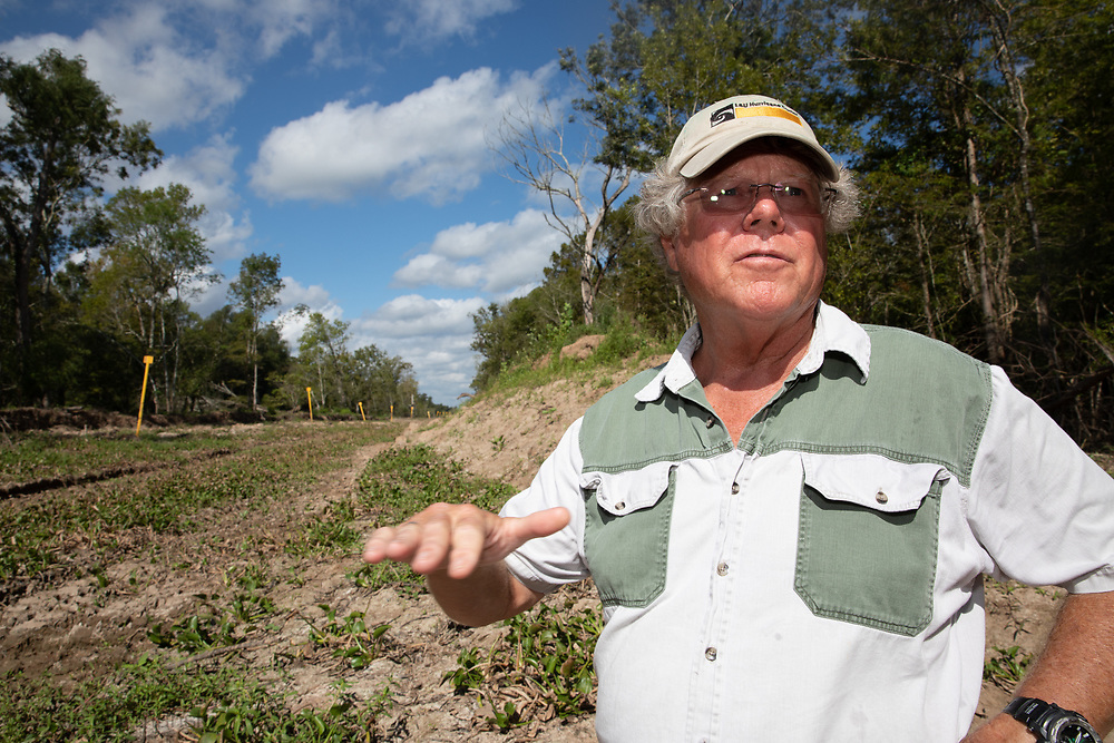 Scientist Ivor van Heerden stands next to the Bayou Bridge pipeline on the west side of the Atchafalaya Basin.