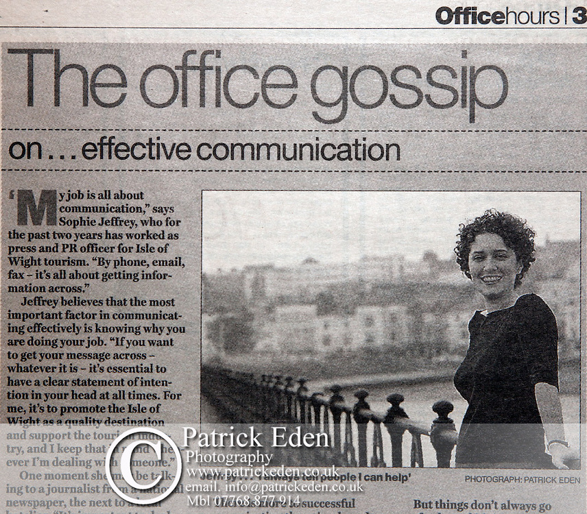 Sophie Jeffrey, office talk. The Independent.