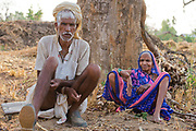 Old couple on a farm at Bandhavgarh, India.