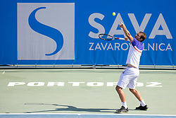 Frederik Nielsen (DEN) play against Andrea Pellegrino (ITA) at ATP Challenger Zavarovalnica Sava Slovenia Open 2018, on August 5, 2018 in Sports centre, Portoroz/Portorose, Slovenia. Photo by Urban Urbanc / Sportida