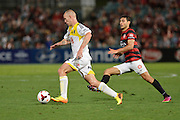 01.01.2014 Sydney, Australia. Wellingtons forward Stein Huysegems in action during the Hyundai A League game between Western Sydney Wanderers FC and Wellington Phoenix FC from the Pirtek Stadium, Parramatta. Wellington won 3-1.