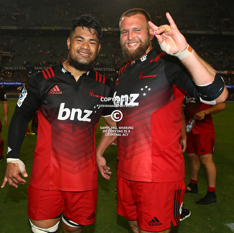 DURBAN, SOUTH AFRICA - MARCH 26: Jordan Taufua of the BNZ Crusaders with Joe Moody of the BNZ Crusaders during the Super Rugby match between Cell C Sharks and BNZ Crusaders at Growthpoint Kings Park on March 26, 2016 in Durban, South Africa. (Photo by Steve Haag/Gallo Images)