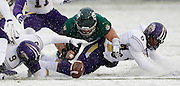 North Alabama cornerback Jaylan Jackson (9), safety Dorsey Norris (6) and Northwest Missouri offensive lineman Chase Sherman (62) go after a fumble in the first half of an NCAA Division II National Championship football game, Saturday, Dec. 17, 2016, in Kansas City, Kan. The Bearcats recovered the ball. (AP Photo/Colin E. Braley)