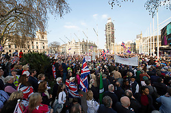 © Licensed to London News Pictures. 29/03/2019. London, UK. Pro-Brexit supporters attend a Leave Means Leave rally in Parliament Square on the day The United Kingdom was to leave the European Union.<br /> Photo credit: Ray Tang/LNP