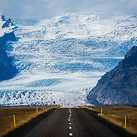 Engulfed by Vatnajokull Glacier traveling on Iceland's Ring Road.