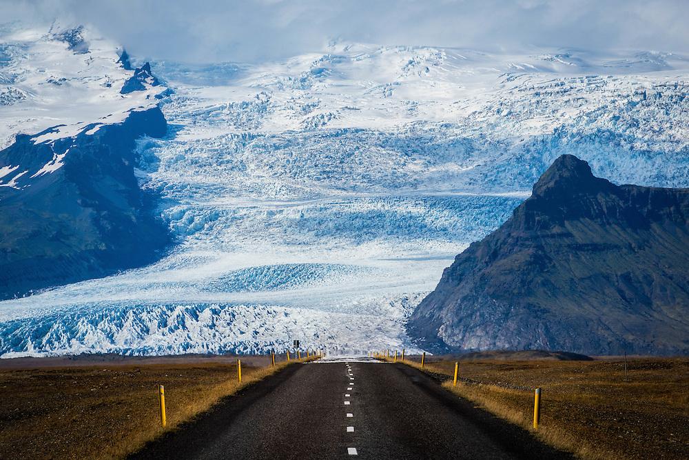 Engulfed by Vatnajokull Glacier traveling on Iceland's Ring Road.