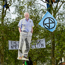 "© Licensed to London News Pictures. 23/04/2019. LONDON, UK.  An image of broadcaster David Attenborough is held aloft as activists gather at Parliament Square during ""London: International Rebellion"", on day nine of a protest organised by Extinction Rebellion.  Protesters are demanding that governments take action against climate change.  Police have issued a section 14 order for Parliament Square and expect that the occupation of the square will have concluded by the end of the day.  Photo credit: Stephen Chung/LNP"