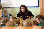 Pic by Howard Barlow.Gwyneth Glyn, Wales's Children's Poet Laureate -.working with children at Ysgol Llangelynnin primary near Conwy, North Wales