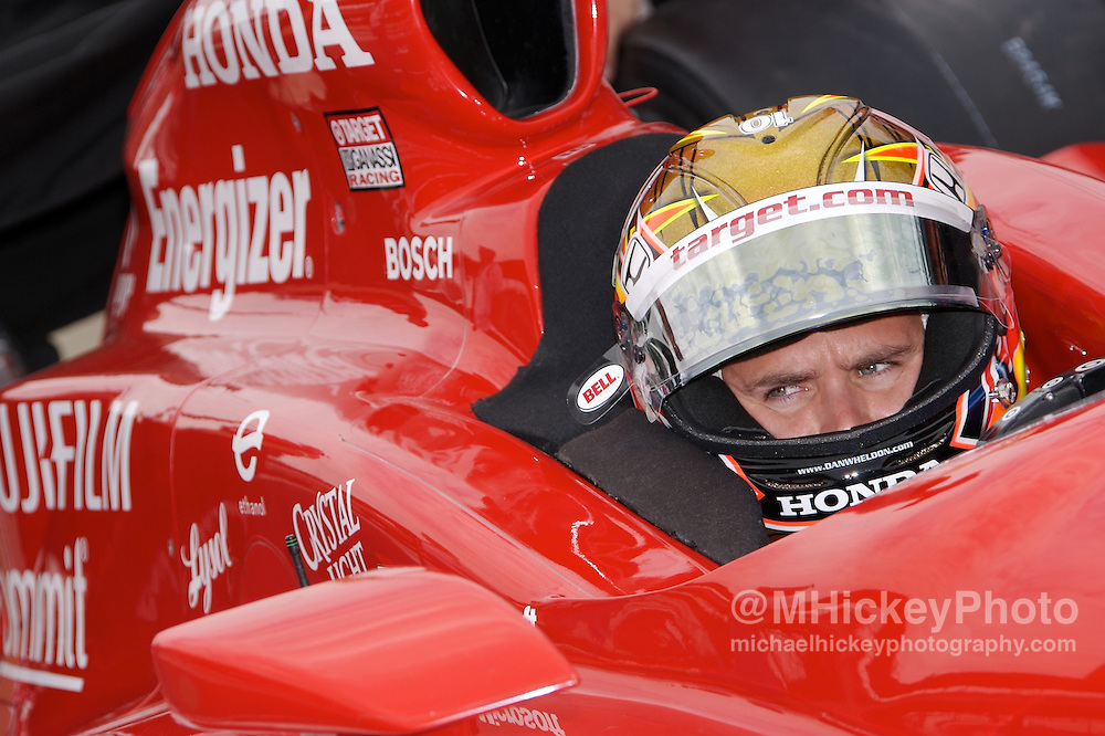 Dan Wheldon of the Target Gannasi Team seen at his pit stall during practice for the Indianapolis 500 on May 11, 2007 in Speedway, Indiana. Photo by Michael Hickey