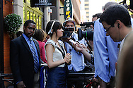 August 27, 2008 - Actress Zooey Deschanel answer questions from the media prior to attending the Spotlight Initiative Award Morning Reception Honoring Annette Bening during the 2008 Democratic National Convention in Denver.