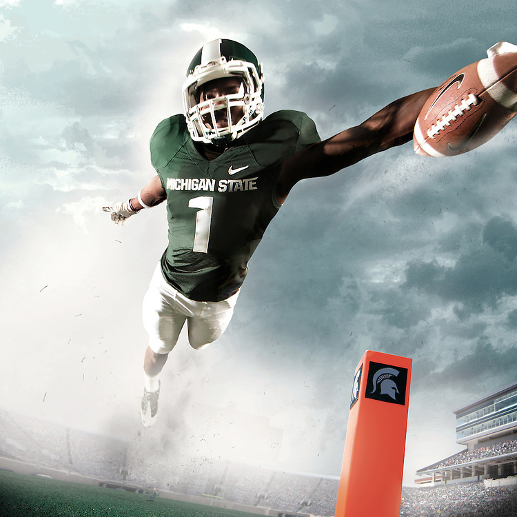 Isaiah Lewis, Promotional Athlete Portrait for Michigan State University Athletic Department.  Photo composite used on the exterior of Spartan Stadium 30'x30'.<br />