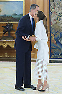 King Felipe VI of Spain, Ona Carbonnel during an audience at Zarzuela Palace on July 23, 2019 in Madrid, Spain