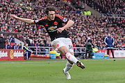 Manchester United's Defender Matteo Darmian in action during the Barclays Premier League match between Sunderland and Manchester United at the Stadium Of Light, Sunderland, England on 13 February 2016. Photo by George Ledger.