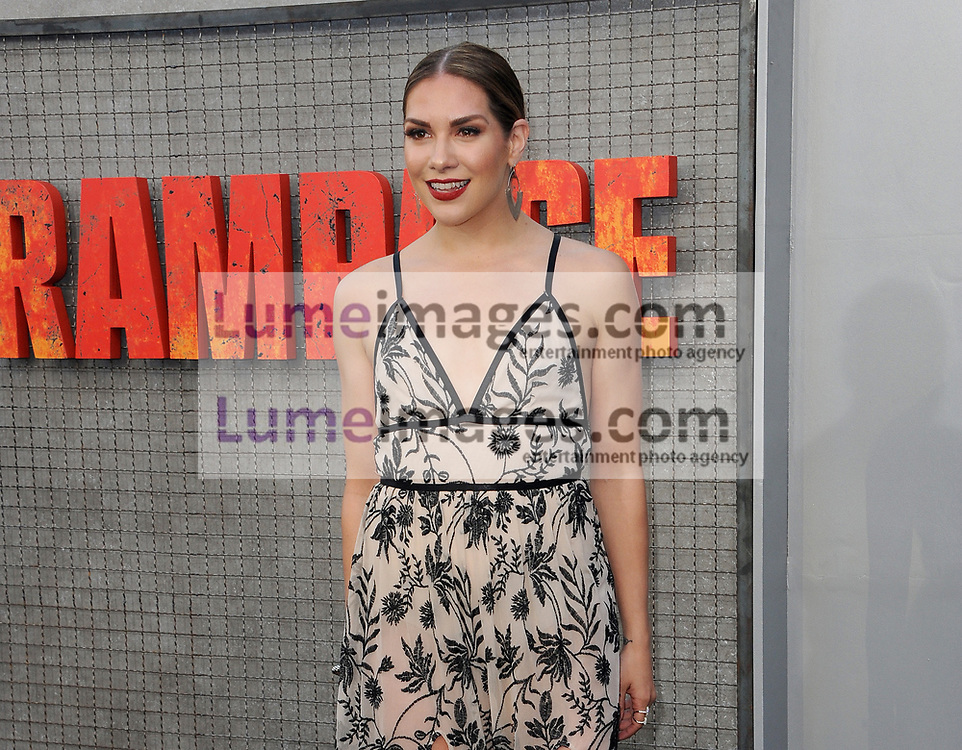 Allison Holker at the Los Angeles premiere of 'Rampage' held at the Microsoft Theater in Los Angeles, USA on April 4, 2018.