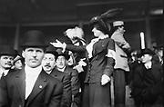Chorus girl raising money at TITANIC game.  Date Created/Published: [1912 April 21].