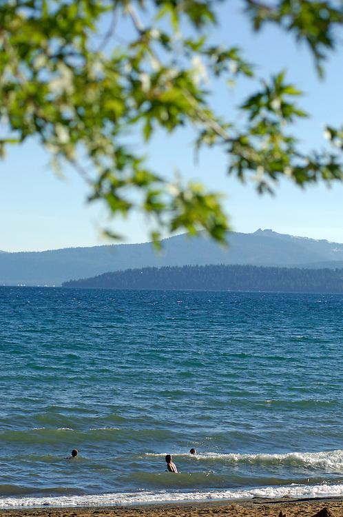 People swimming, Lake Tahoe, Kings Beach, California, United States of America