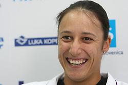 Katarina Srebotnik of Slovenia at press conference after she won against  Sanda Mamic at 2nd Round of Banka Koper Slovenia Open 2008, on July 22, 2008, Portoroz - Portorose, Slovenia. (Photo by Vid Ponikvar / Sportal Images)...