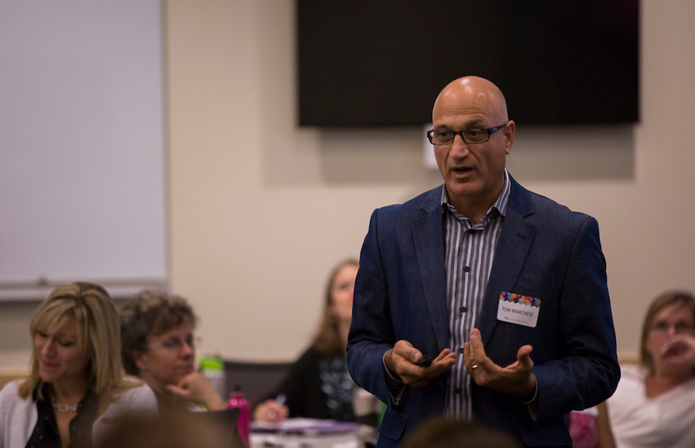 "Tom Marchese, Executive-in-Residence and Associate Director of Ohio University College of Business Honors Program, talks about different brands and how they are marketed during his presentation ""Building Brands in a Digital World"" on November 4, 2015 in Schoonover Center. Photo by Emily Matthews"