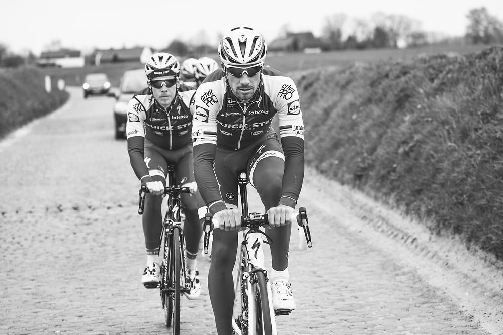 Tom Boonen and the Quick-Step Floors team train on the parcours ahead of the Ronde van Vlaanderen. Photo: Iri Greco / BrakeThrough Media | www.brakethroughmedia.com
