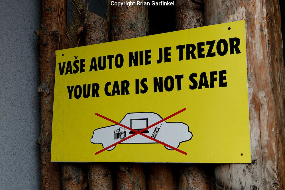 A sign at a restaurant next to our hotel In Zilina, Slovakia on Wednesday July 6th 2011.  (Photo by Brian Garfinkel)