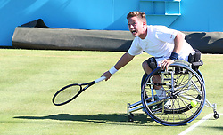 June 22, 2018 - London, United Kingdom - Alfie Hewett  (GBR) .during Fever-Tree Championships Wheelchair Doubles Event  match between Alfie Hewett and Gordon Reid  (GBR) against Stephane Houdet and Nicolas Peifer (FRA) at The Queen's Club, London, on 22 June 2018  (Credit Image: © Kieran Galvin/NurPhoto via ZUMA Press)