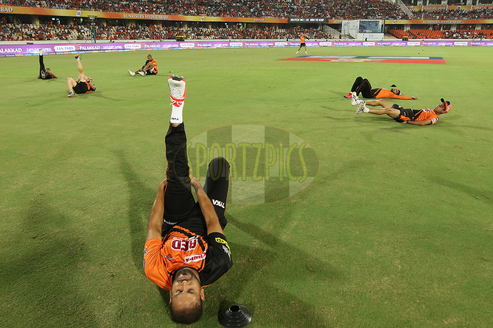 Sunrisers practise sessions during match twenty five of the Vivo Indian Premier League 2018 (IPL 2018) between the Sunrisers Hyderabad and the Kings XI Punjab  held at the Rajiv Gandhi International Cricket Stadium in Hyderabad on the 26th April 2018.<br /> <br /> Photo by Saikat Das /SPORTZPICS for BCCI