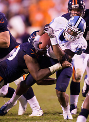 "North Carolina safety Shaun Draughn (20) in action against UVA.  The Virginia Cavaliers defeated the #18 ranked North Carolina Tar Heels 16-13 in overtime in NCAA football at Scott Stadium on the Grounds of the University of Virginia in Charlottesville, VA on October 18, 2008.  The 113th meeting of the two teams, dubbed the ""Oldest Rivalry in the South"", saw UVA continue its streak of consecutive home victories over UNC -- the last time the Tar Heels won in Charlottesville was 1981."